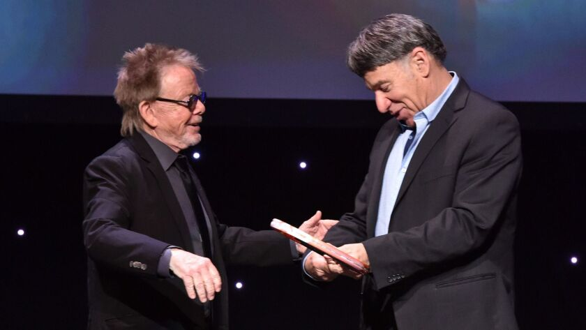 LOS ANGELES, CA - MAY 16: Honoree Stephen Schwartz accepts the Founder's Award from ASCAP President