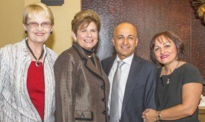 Denise Nelesen, left, District Attorney Bonnie Dumanis (who received the 2013 Visionary Award), incoming SDNCC board member Fred Nasseri and Mitra Nasseri.