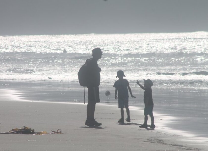 Dry offshore winds will help keep temperatures above normal at the coast. Photo taken this week at La Jolla Shores.