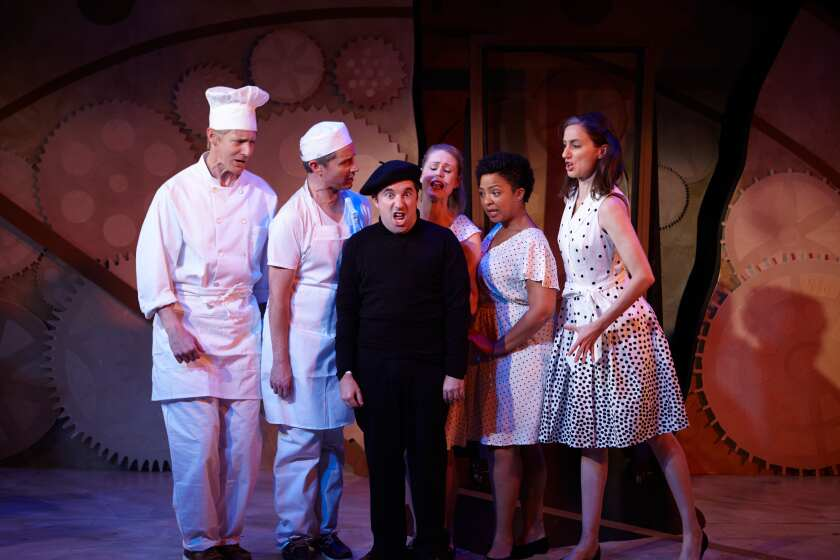 "Christian Pedersen (from left), David McBean, Omri Schein (as Philip Glass), Noelle Marion, Taylor Renee Henderson and Uma Incrocci in North Coast Rep's production of ""All in the Timing."""