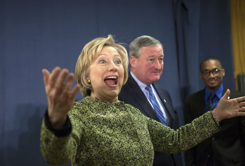 Hillary Clinton greets people after a round-table discussion with Mayor Jim Kenney in Philadelphia. The Pennsylvania Democratic primary is set for April 26, a week after the crucial election in New York.