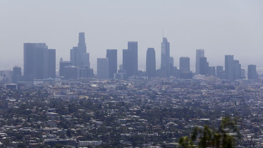 Downtown Los Angeles skyline, as seen from Griffith Observatory, in July.