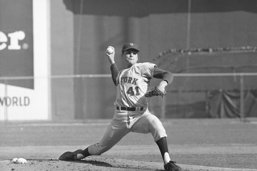 Mets pitcher Tom Seaver, shown in the 1969 NLCS.