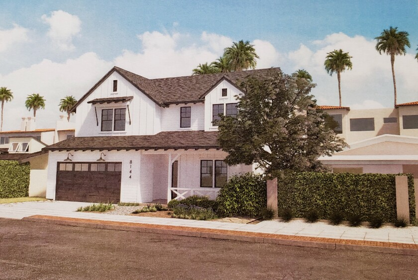 A rendering of the proposed two-story development at 8144 Paseo Del Ocaso in La Jolla Shores