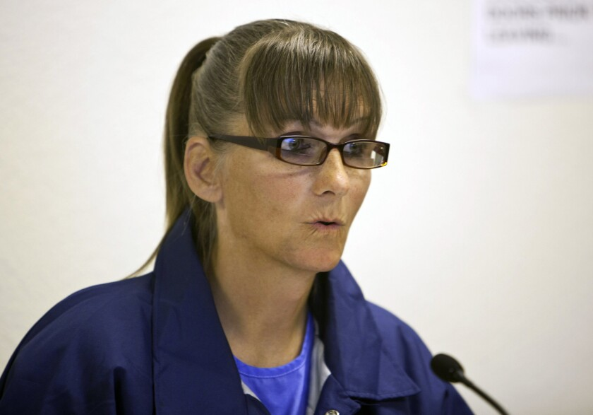 Michelle Norsworthy at a parole hearing in May.
