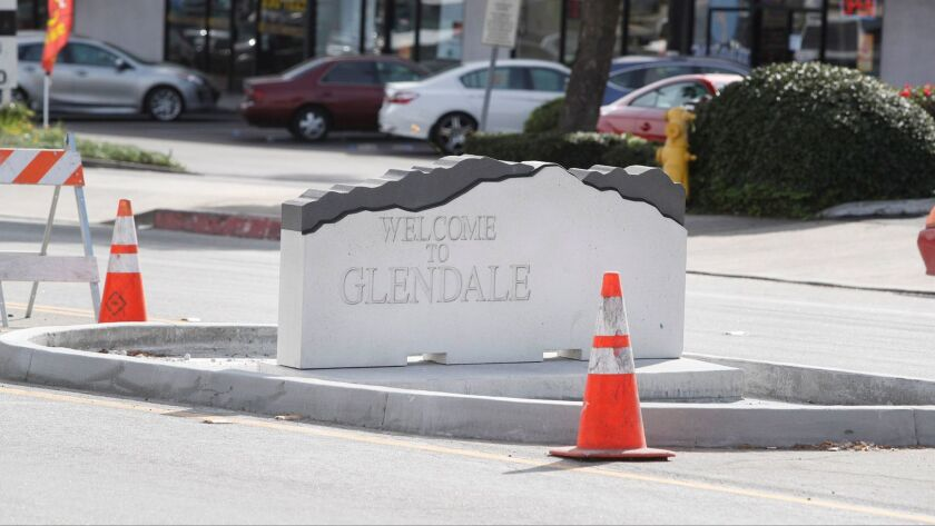 New Welcome to Glendale border signs installed between the east and west lanes of Foothill Blvd. nea