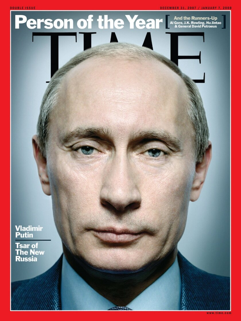 Russian President Vladimir Putin appears on the cover of Time magazine as the publication's 2007 person of the year.