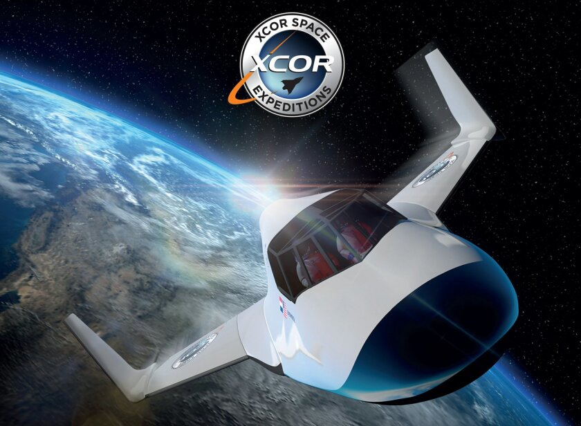 This undated image provided by XCOR shows the XCOR Lynx, a suborbital horizontal-takeoff, horizontal-landing, rocket-powered spaceplane under development by the California-based company XCOR. Space tourism companies are employing designs including winged vehicles, vertical rockets with capsules and