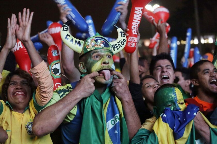 Brazilian soccer fans celebrate a goal by their team against Spain in the 2013 Confederations Cup final. A new study suggests that the Zika virus may have been carried into the country by team members or fans from French Polynesia who traveled to Brazil for the tournament.
