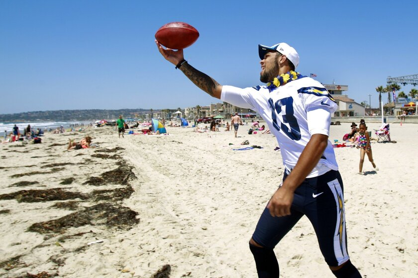 San Diego Charger receiver Keenan Allen plays catch at Mission Beach as the team went throughout the county making surprise visits.
