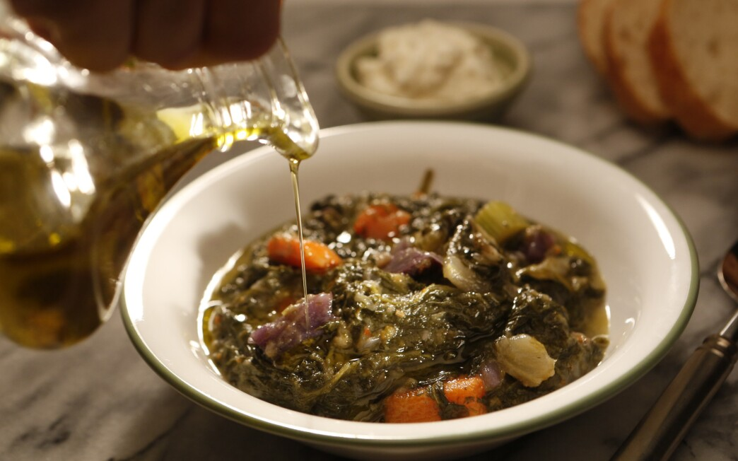 Braised greens and potatoes with lemon and fennel