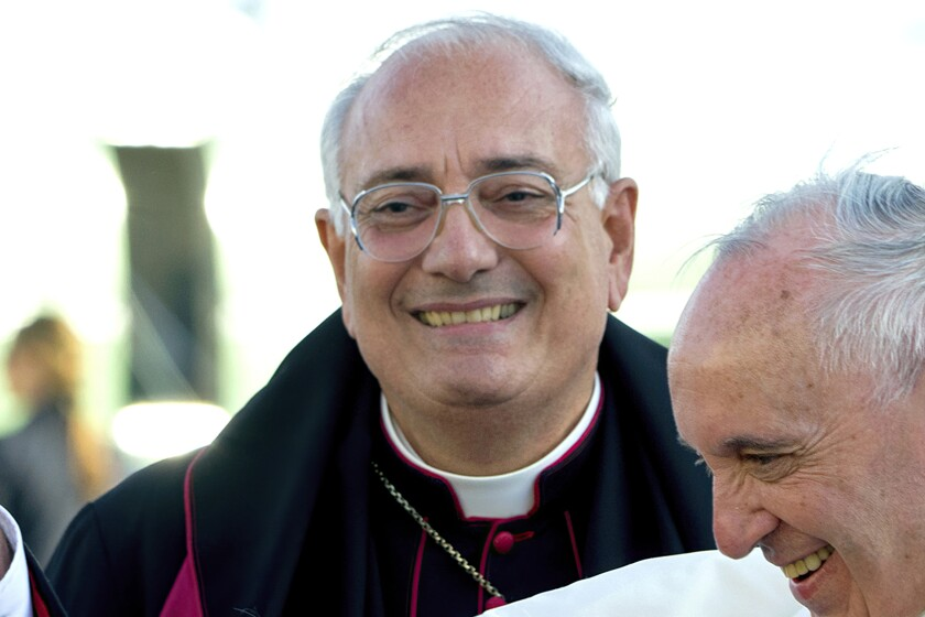 FILE - This Thursday, Sept. 24, 2015, file photo shows Brooklyn Bishop Nicholas DiMarzio as Pope Francis, right, arrives at John F. Kennedy International Airport in New York. DiMarzio, already under a church investigation for alleged sex abuse, has been accused by a second man who says he was molested in the 1970s. (AP Photo/Craig Ruttle, Pool)