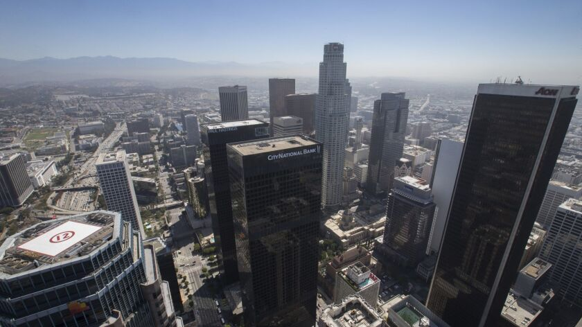 A view of smog in downtown Los Angeles on June 20, 2017.