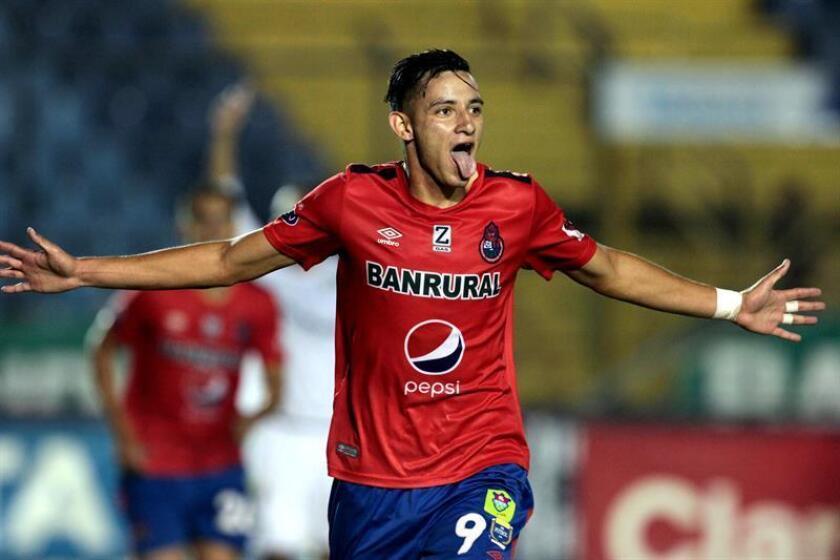 Jose Martinez, from Gutemalan club Municipal, celebrates after scoring a goal in Oct. 31. 2018. Guatemala City, Guatemala. EPA-EFE/Gabriel Baldizon/FILE