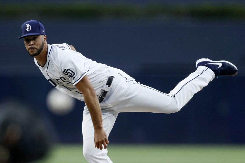 Padres starting pitcher Joey Lucchesi threw 94 pitches in 4 2/3 innings Monday against the Tampa Bay Rays.