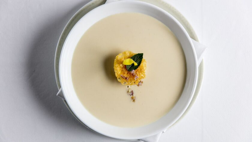 BEVERLY HILLS, CALIFORNIA - June 19, 2019: Corn soup at Spago on Wednesday, June 19, 2019, at the W
