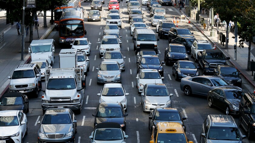 Traffic backs up on 5th Street in downtown Los Angeles.