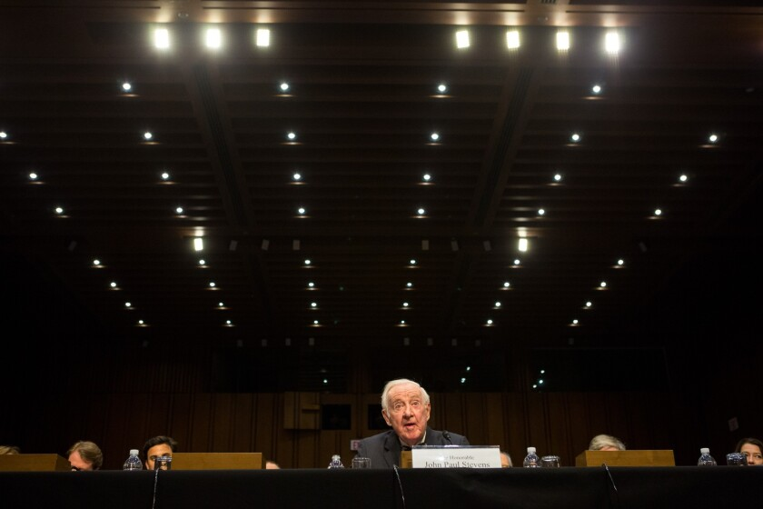 """Former Supreme Court Justice John Paul Stevens told a Senate committee that """"while money is used to finance speech, money is not speech"""" in elections."""
