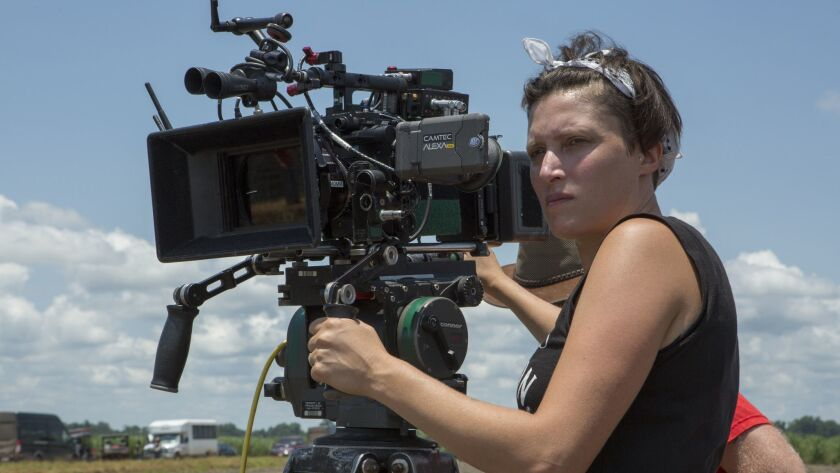 "Rachel Morrison on the set of the film ""Mudbound."""