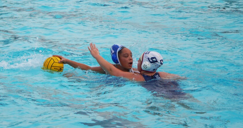 Bulldog girls water polo team member Ericka Bradley readies for a pass.