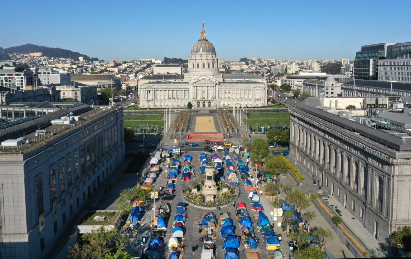 Aerial view of tents lined up in rows at San Francisco's Civic Center