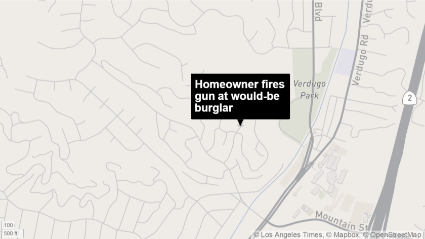 A Glendale homeowner shot his gun at a fleeing would-be burglar Wednesday night, police said.
