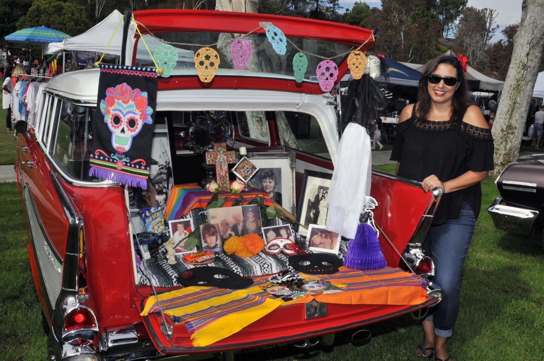 Tina Corbin and her family car shrine