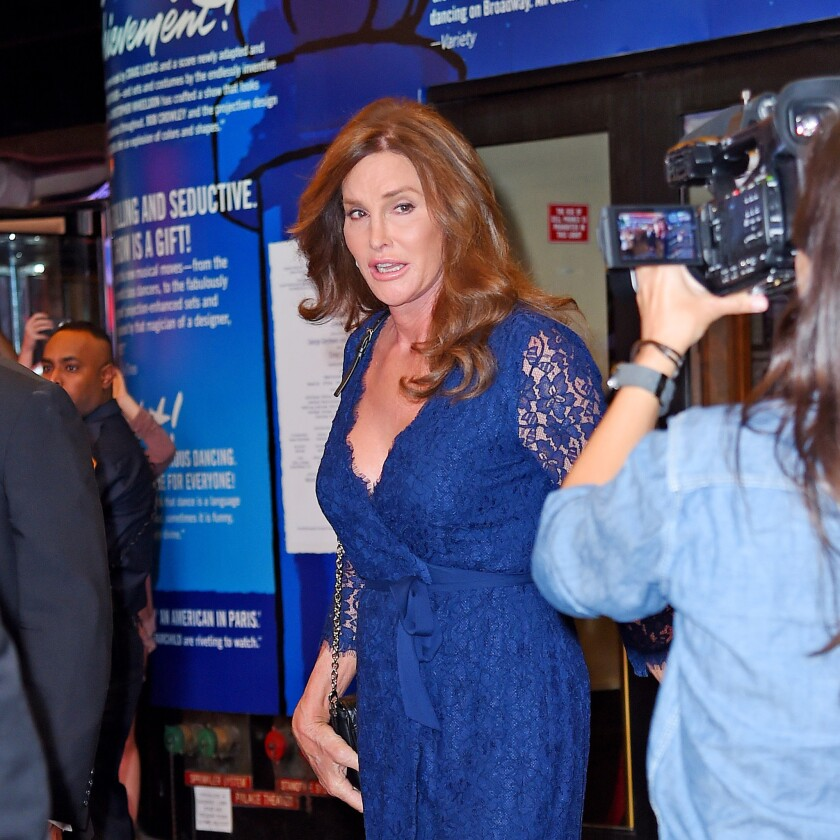 """Caitlyn Jenner leaves the Palace Theatre in New York after attending a performance of the Broadway show """"An American in Paris"""" on June 30."""