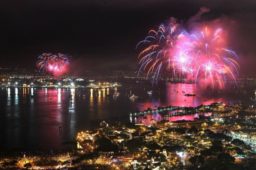 July 4, 2014_San Diego, California_USA_| The Big Bay Boom fireworks display lights up San Diego Harbor in this view looking north from the roof of the 25 story South Tower of the Marriott Marquis Hotel on the bay.|_Mandatory Photo Credit: Photo by Charlie Neuman/UT San Diego/Copyright 2014 San Dieg