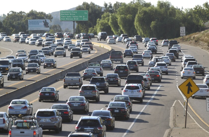 Afternoon rush hour traffic, viewed from the Nordahl Road bridge, on Highway 78 on Friday, September 6, 2019 in San Marcos.