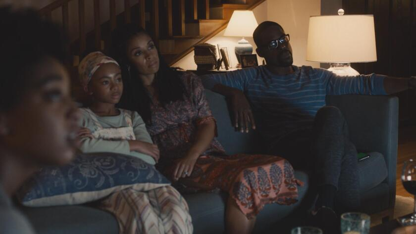 """Eris Baker, front left, Faith C. Herman, Susan Kelechi Watson and Sterling K. Brown in the Season 5 premiere of """"This Is Us."""""""
