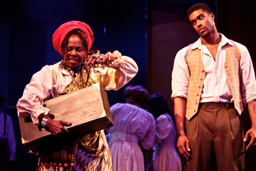 "DeBorah Sharpe-Taylor and Alvester Martin III in San Diego Rep's ""Storyville."""