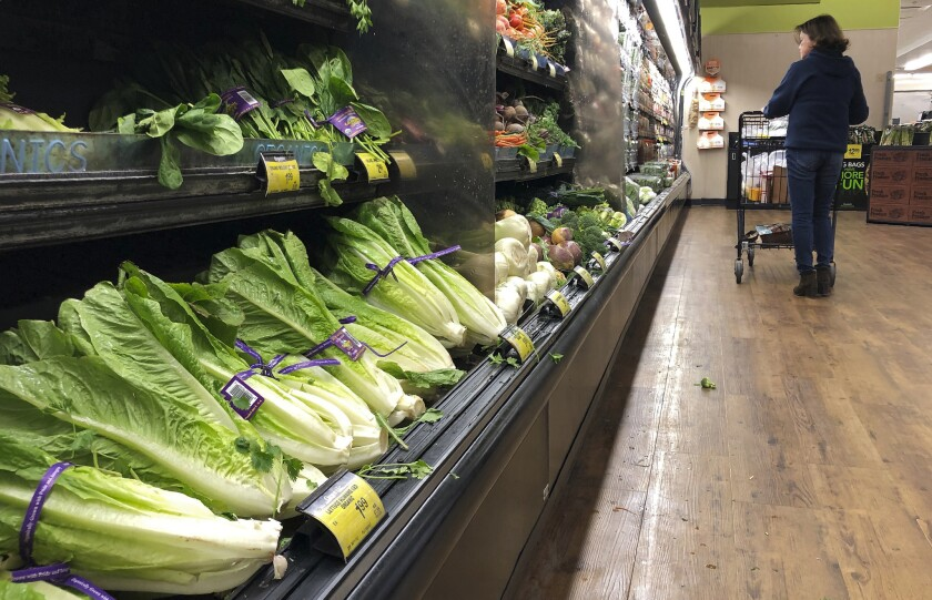 Romaine Lettuce still on the shelves of a supermarket in Simi Valley, Calif., earlier this week.