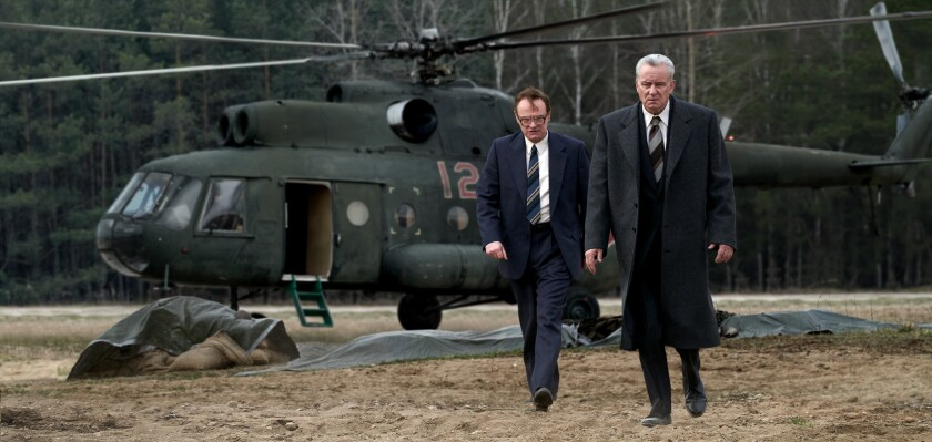 """(L-R)- Jared Harris and Stellan Skarsg?rd in a scene from episode 2 of the HBO mini series """"Chernob"""