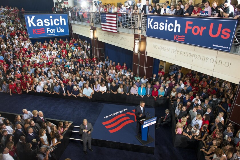 Ohio Gov. John Kasich announces his 2016 presidential candidacy in a speech at Ohio State University on Tuesday. Kasich became the 16th Republican candidate to officially enter the race.