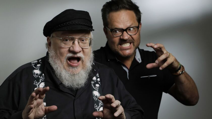 "George R.R. Martin, left, scares up some chilling fun with showrunner and executive producer Jeff Buhler for their new Syfy series ""Nightflyers,"" based on Martin's 1980 sci-fi/horror novella."