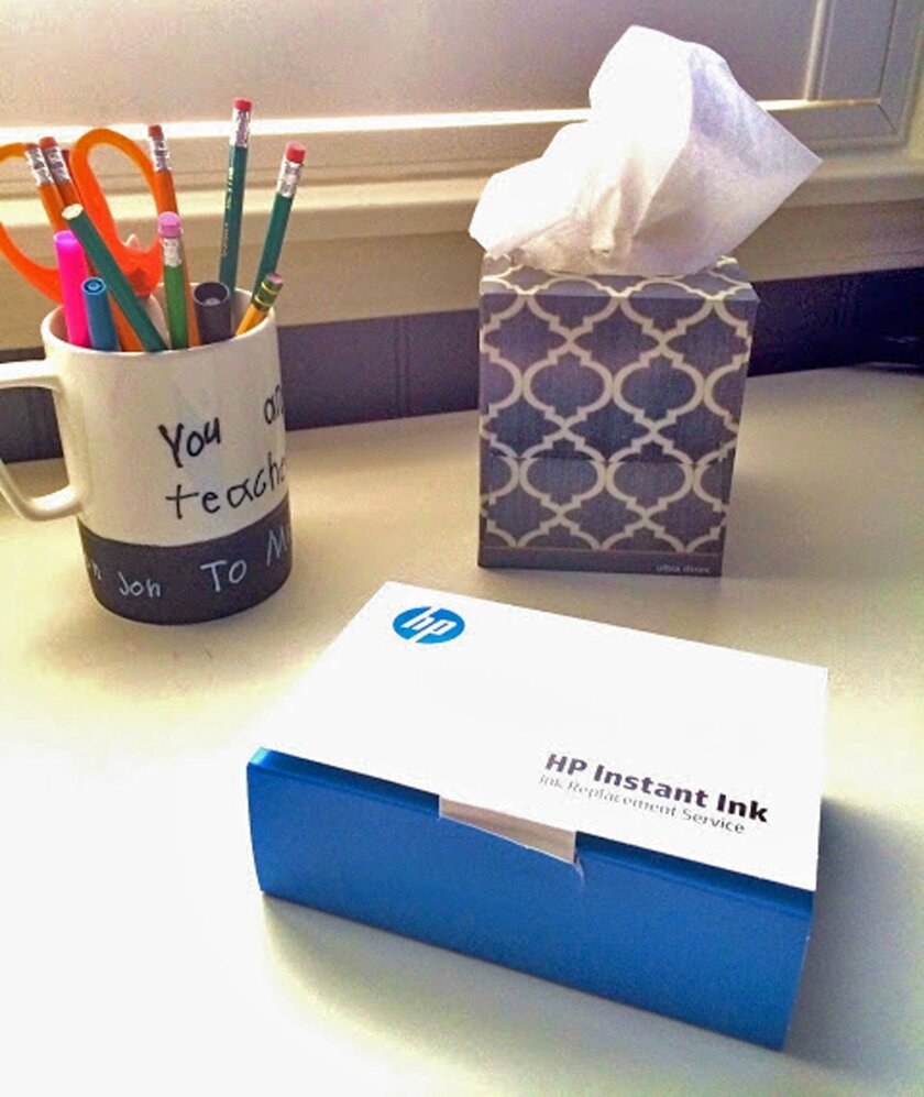 HP Instant Ink on teacher's desk / photo courtesy HP