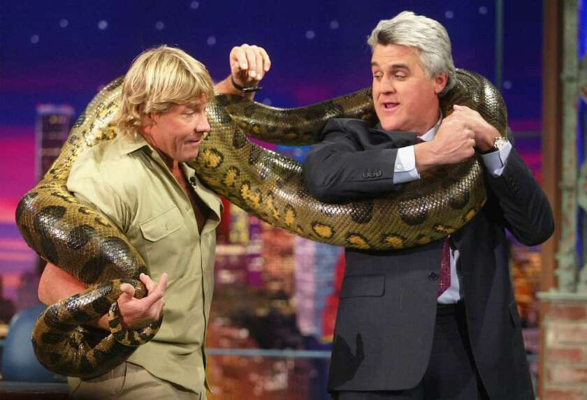 """Jay Leno (here in 2003 with the late Steve Irwin) has joked that NBC bosses are """"snakes."""""""