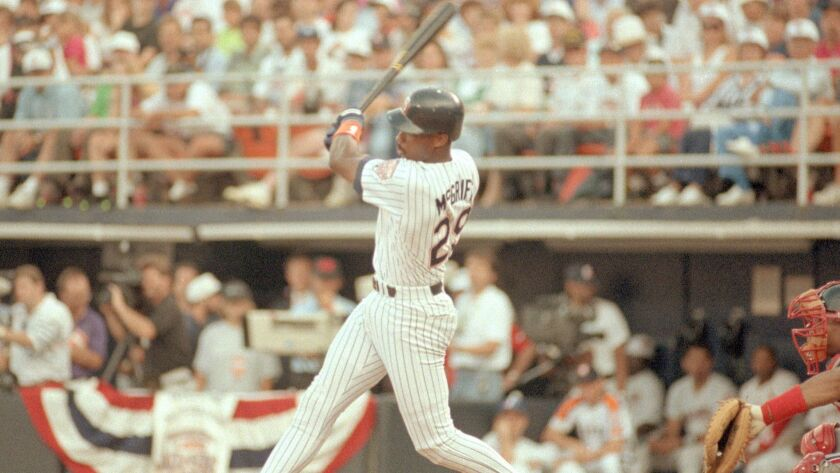 Padres first baseman Fred McGriff with an RBI single at the 1992 All-Star Game in San Diego on July 14, 1992.
