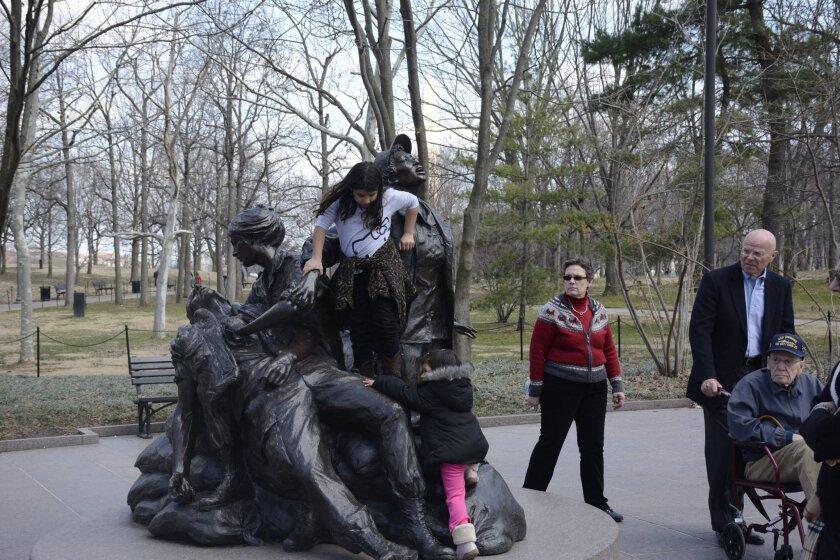 Children at play on the Vietnam Women's Memorial