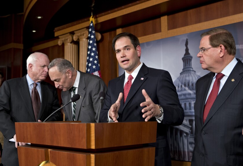 Sen. Marco Rubio and fellow Gang of Eight members at a 2013 news conference on their immigration overhaul proposals.