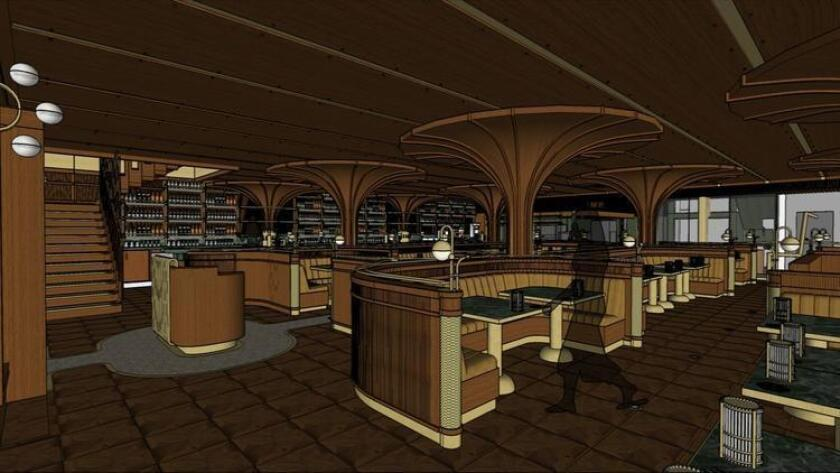 "An artist's rendering of the walnut-lined dining room at Born & Raised in Little Italy shows art deco-esque curved booths and tall ""blooms"" that cover the restaurant's support beams. (Courtesy BASILE Studio)"