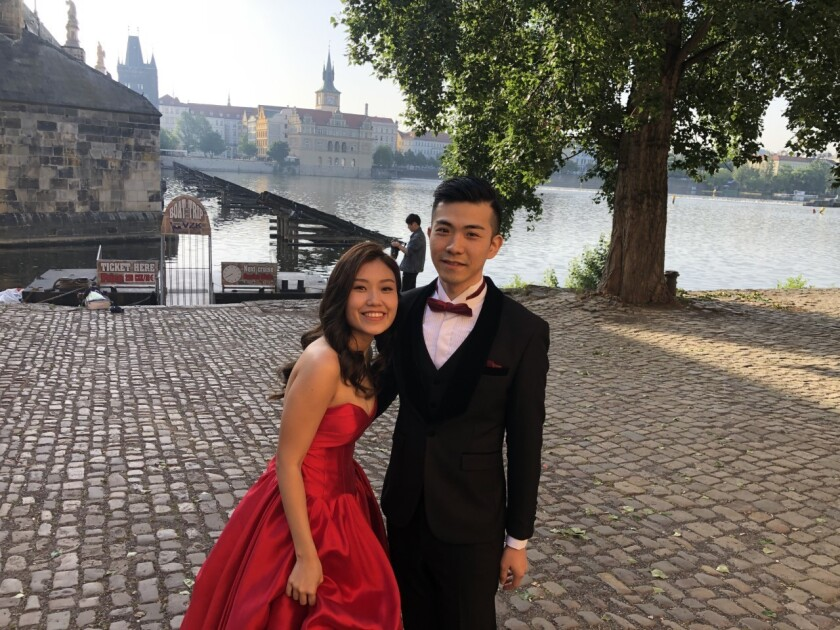 Erica Leung, 26, poses with fiance Sze Sze, 28, for pre-wedding pictures in Prague.