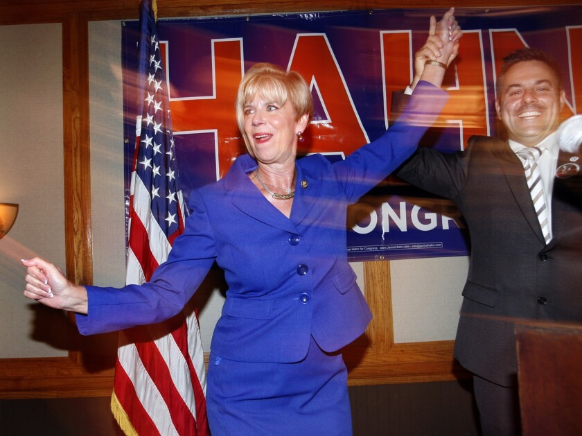Rep. Janice Hahn is congratulated by L.A. City Councilman Joe Buscaino after winning reelection in 2012.