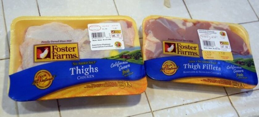 Packages of recalled chicken linked to an outbreak of salmonella is seen. More than 300 people, most of them in California, have been sickened.