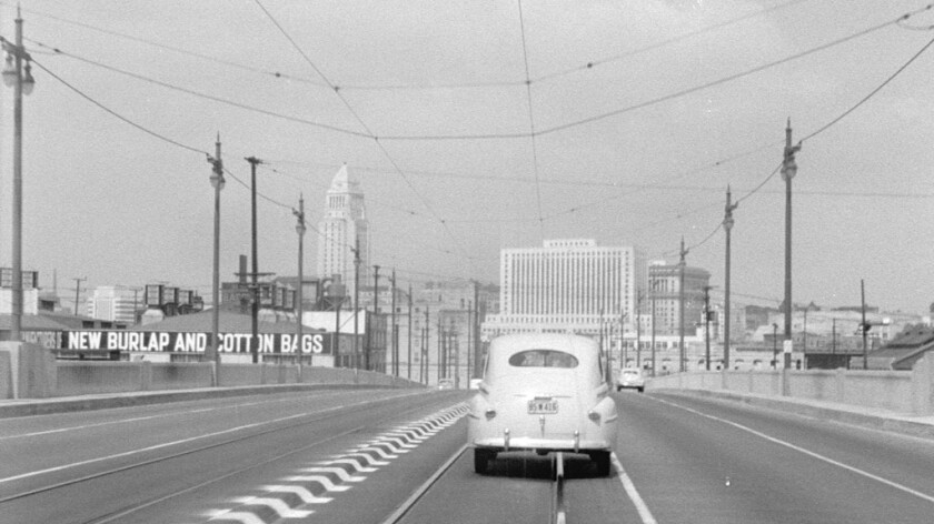 Entering downtown, a still from Rick Prelinger's Lost Landscapes of Los Angeles