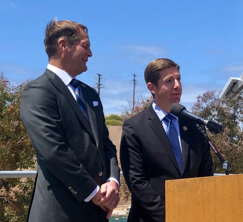 Rep. Harley Rouda, D-Laguna Beach, left, with Rep. Mike Levin, D-San Juan Capistrano, following a tour of the San Onofre Nuclear Generating Station on April 16, 2019. Levin said he will introduce a bill on Capitol Hill that would help ensure that nuclear waste at San Onofre is prioritized by the federal government.