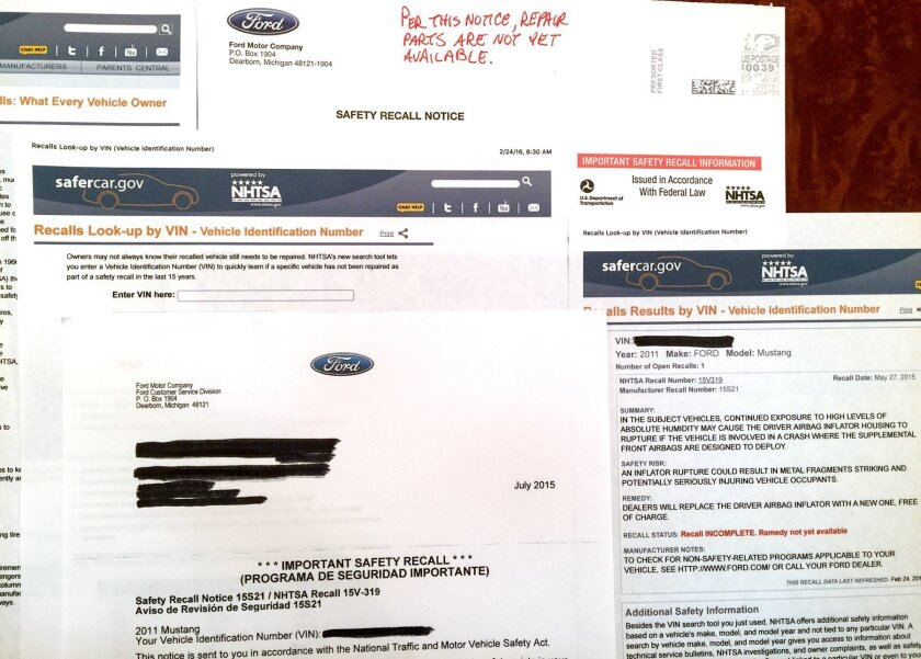 NHTSA & Ford Takata recall documents