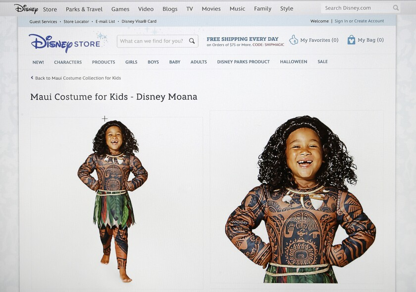 "The Maui Halloween costume, featuring full-body tattoo art adorning the character from the upcoming animated movie ""Moana,"" on DisneyStore.com."