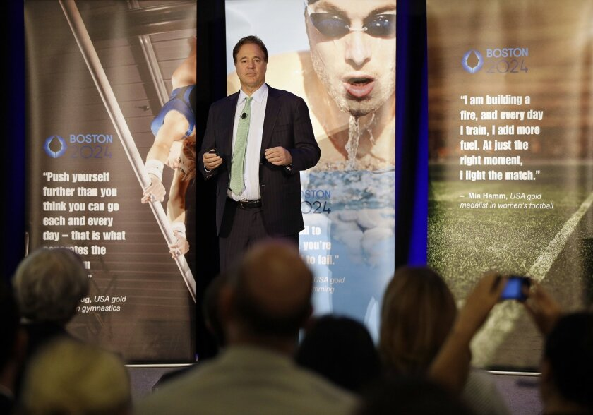 Boston 2024 chairman Steve Pagliuca speaks during the release of the Boston 2024 Partnership's updated plans for the Olympic and Paralympic games at the Boston Convention and Exhibition Center on June 29.
